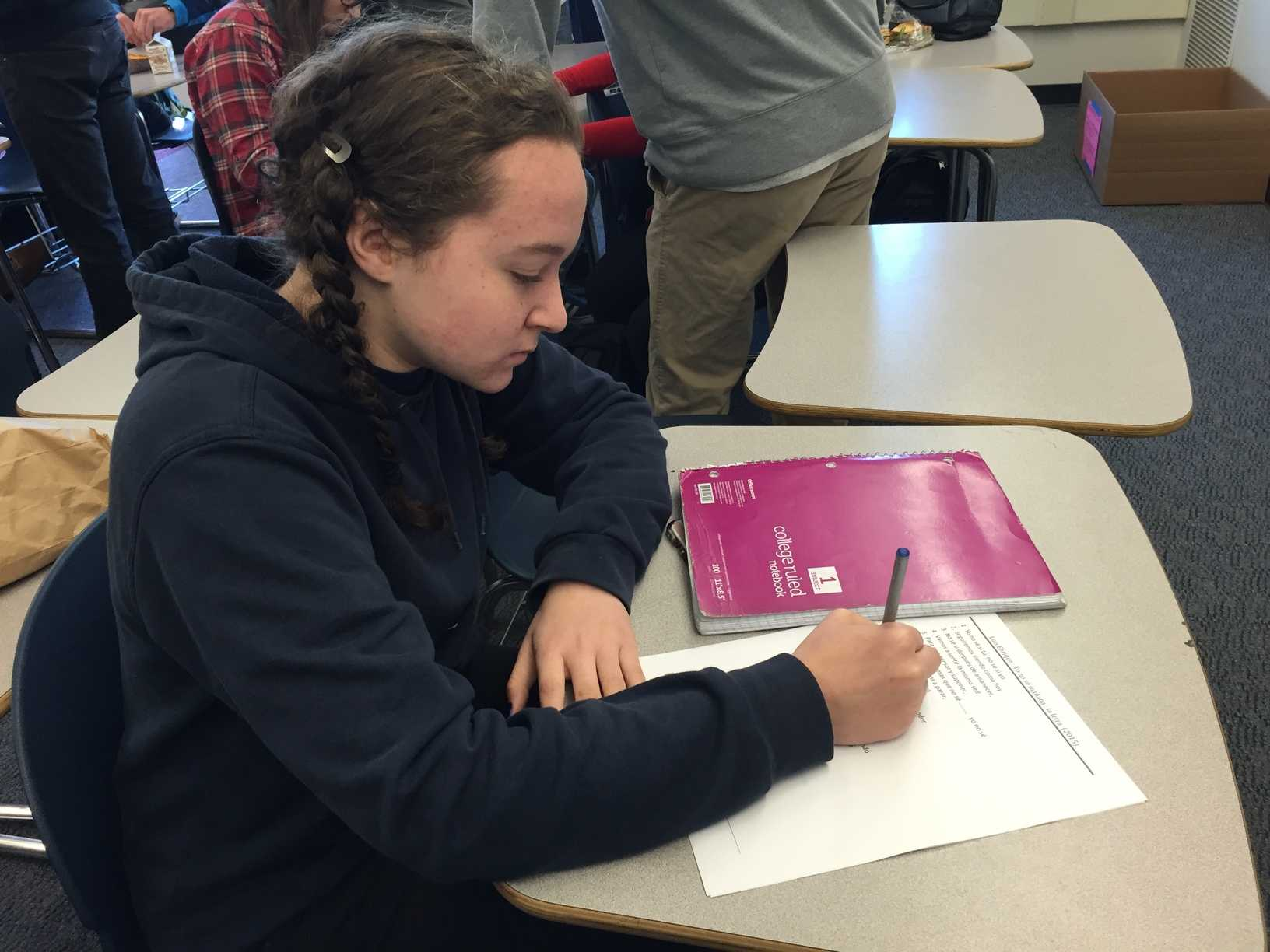 Sophomore Isabel Mayoss studies for the National Exam so that she can receive a gold medal.