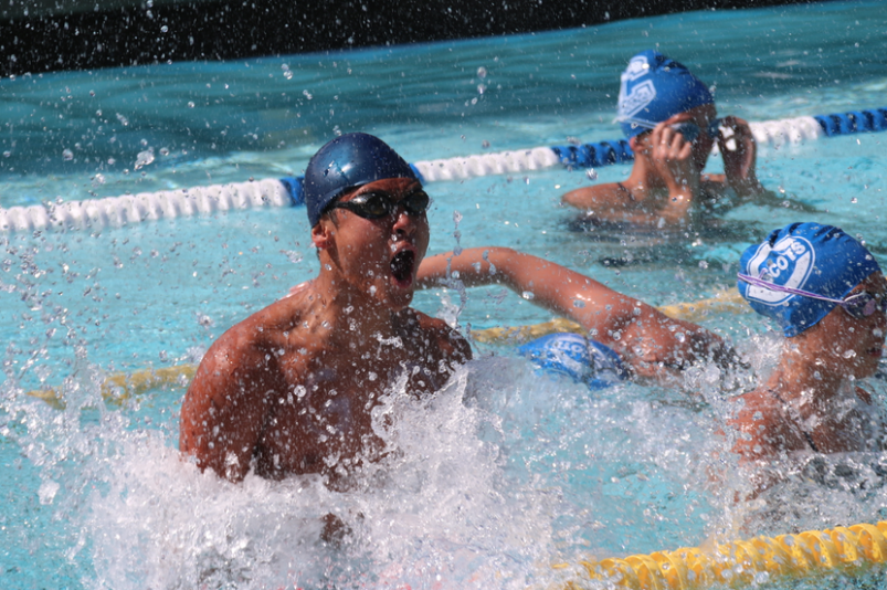 Ho+slaps+his+hands+on+the+water+and+yells+in+celebration+of+Carlmont%27s+win+in+the+girls+4x100+freestyle+relay.