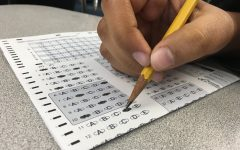 Students take the multiple choice part of their AP exam.