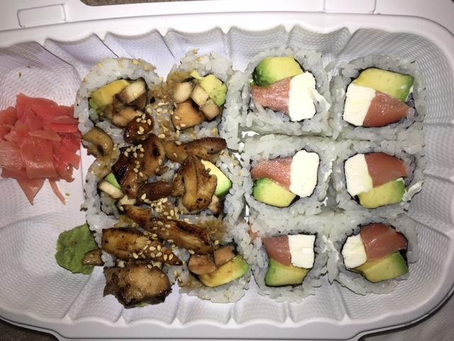Sushi+Monster+offers+many+tasty+options%2C+like+the+Philadelphia+roll+and+chicken+teriyaki+roll.