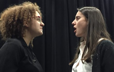 Sophomore Rosie Asmar and senior Sophie Haddad face off during their 2016 Showcase scene.