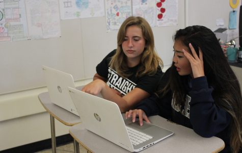 Sophomores Talia Fine and Olivia Chow share their knowledge on an assignment.