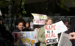 Women protest a rape case in New York City. The case of Brock Turner is not the first controversial rape case in the United States.