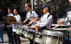 Carlmont Drumline performs at Save the Music.