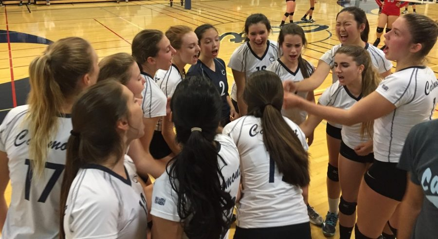 JV+volleyball+celebrates+their+win+against+Hillsdale.+