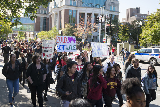 Students in Minnesota protest Donald Trump's discourse during the election.
