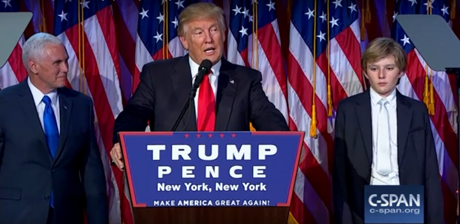 After Clinton called Trump to concede the election, the new President-elect Trump gave a victory speech that thanked his campaign staff and promised fair treatment for Americans.