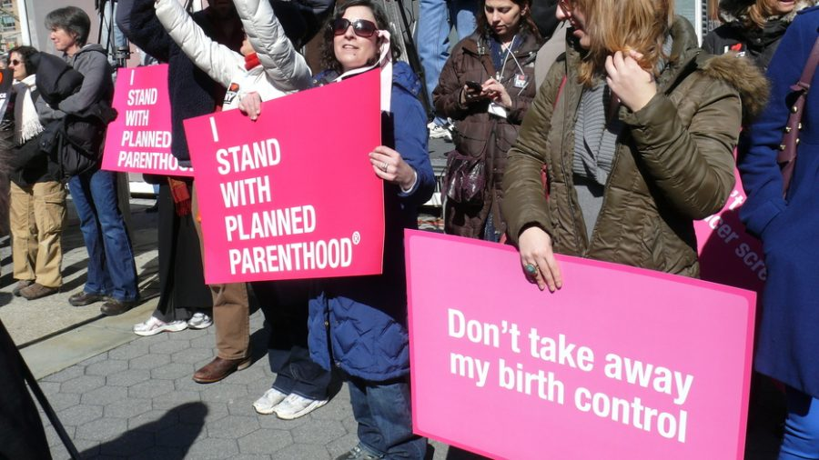 Participants at a rally in New York CIty demonstrate their support for Planned Parenthood.
