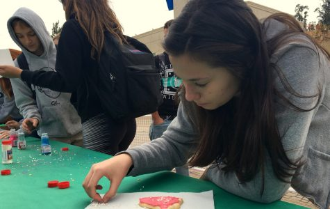 Jade Sebti, a junior, decorates a holiday cookie as a gift to a friend.