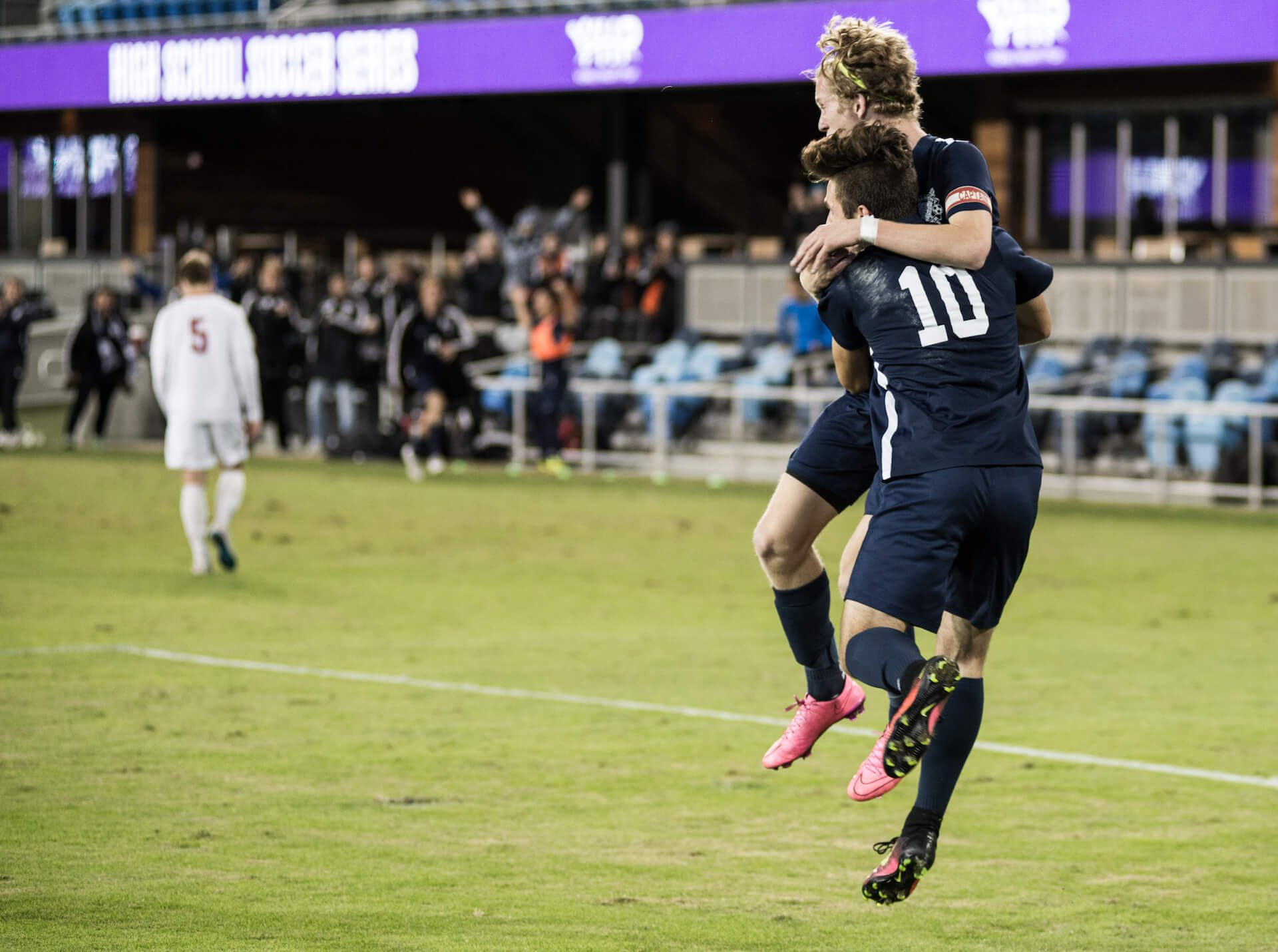 Fitzpatrick and Avetian celebrate shortly after their team takes a 1-0 lead.