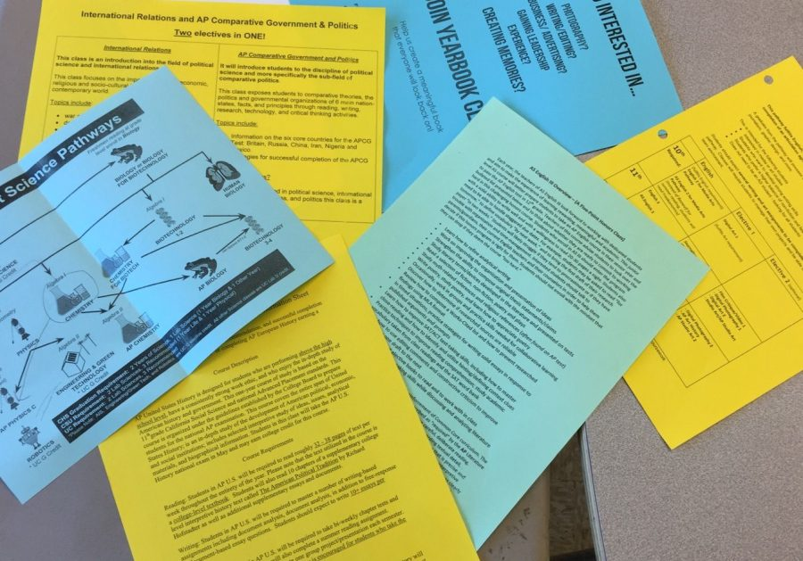 Informational handouts help students to learn about available classes as they prepare for the next school year.