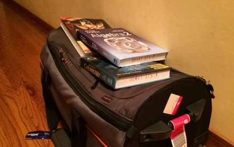 Baggage and textbooks waiting to be taken to the airport for a semester abroad.