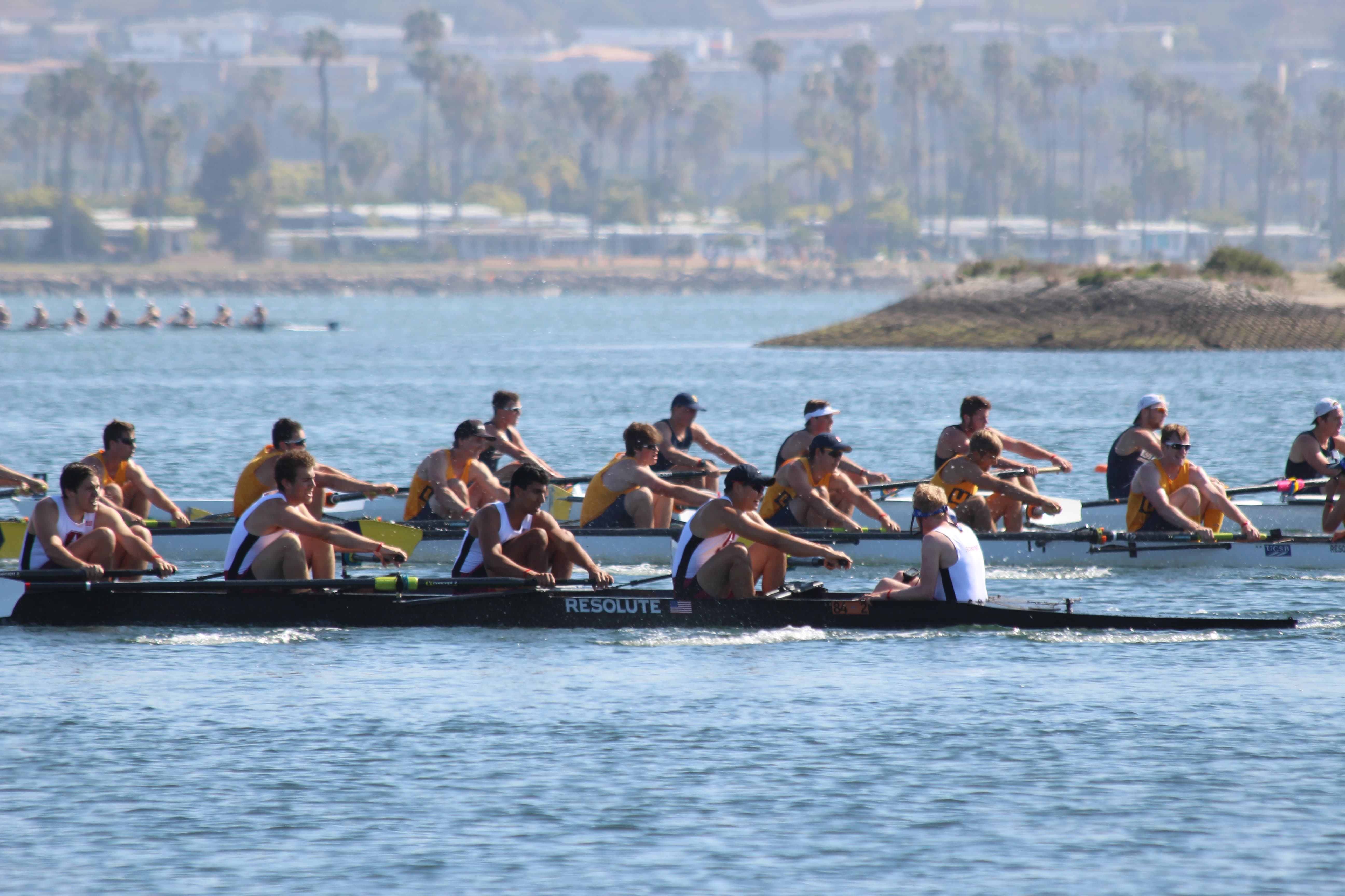 Rowers at the 2016 San Diego Crew Classic race to the finish.