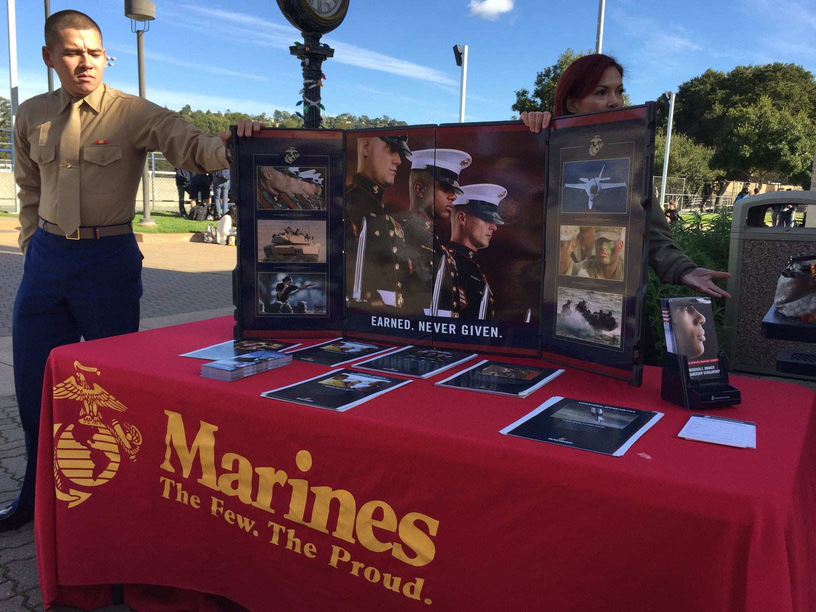 Private Dylan Walsh and Staff Sergeant Stella Weishaar, both Marine Corps recruiters, visited the school campus to explain why students should consider joining the Marine Corps.