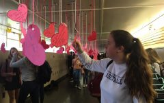 Chloe Kelly, a junior, reads the Valentine's Day notes in the hallway.