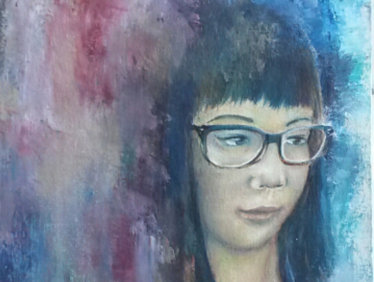 The background of this portrait of Grace Li is made with the use of a palette knife.
