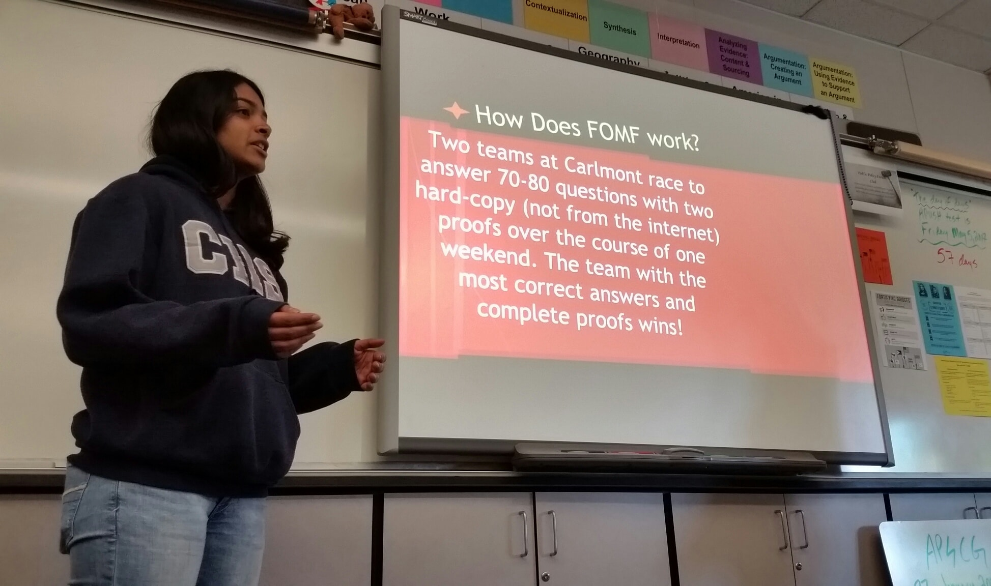 """As the FOMF competition is just around the corner, Annika Nambiar introduces competition to a history class in hopes of getting the class to join the hunt.  """"It is important for the students to know that they have the opportunity to participate in a school activity and possibly gain extra credit points,"""" said Nambiar."""