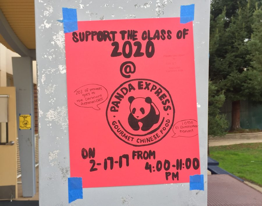 One of the many posters seen around school advertising the Panda Express Fundraiser on Feb. 17 is seen outside the ASB room.