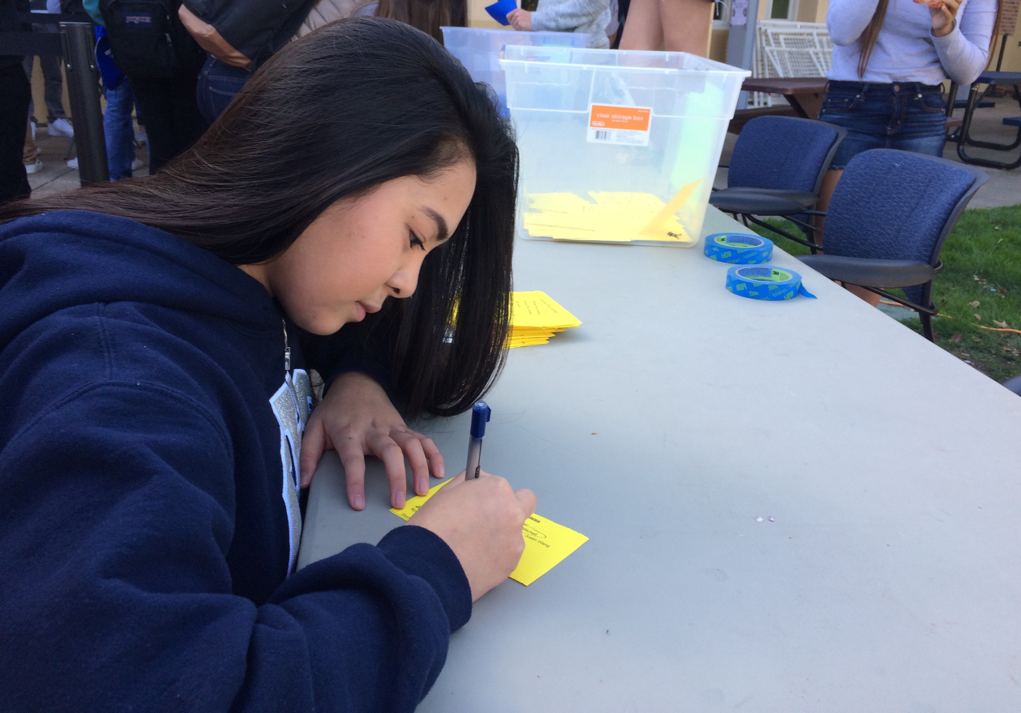 Sophomore Sophia Mercado exercises her voting rights during lunch on Feb. 24.