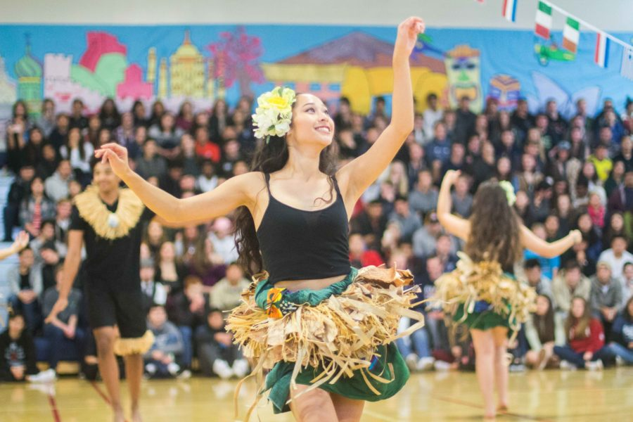 Aloha Club makes a reappearance to perform another traditional Hawaiian dance, in collaboration with Drumline, for the 2017 Heritage Fair assembly finale.
