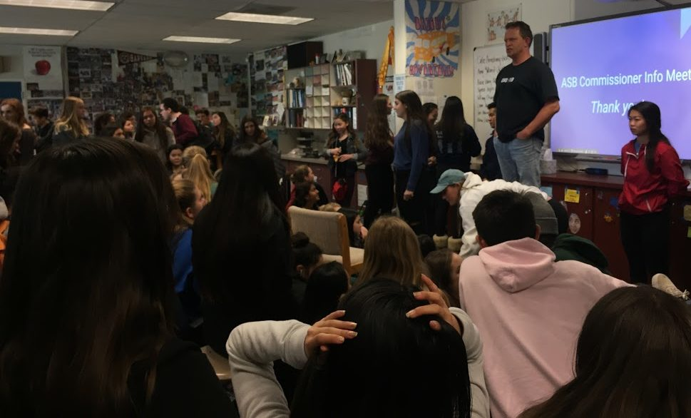 Jim Kelly gets the attention of students attending the ASB commissioner meeting on Feb. 27.