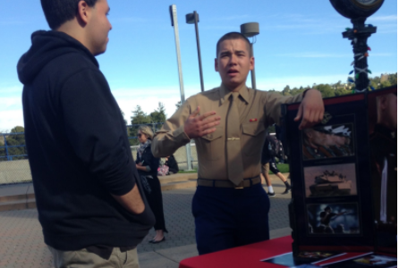 Carlmont students listen to United States Marine Corps recruiters Private Dylan Walsh and Staff Sergeant Stella A. Weishaar. The Marines visited Carlmont to help people learn about the Marine Corps.
