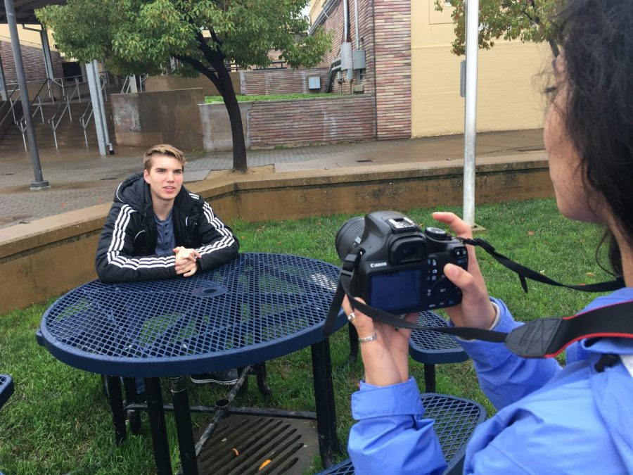 Sophomore Theo Korolev, who is running for junior vice president, is getting filmed for his campaign video by sophomore Lilly Joya-Campos.
