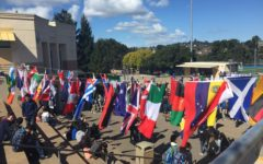 Flags in the quad represent all students at Carlmont