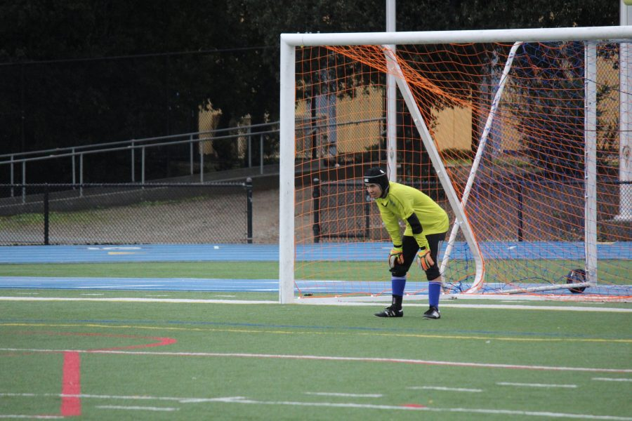 Senior goalkeeper Peyton Young stands ready to save anything that comes his way.