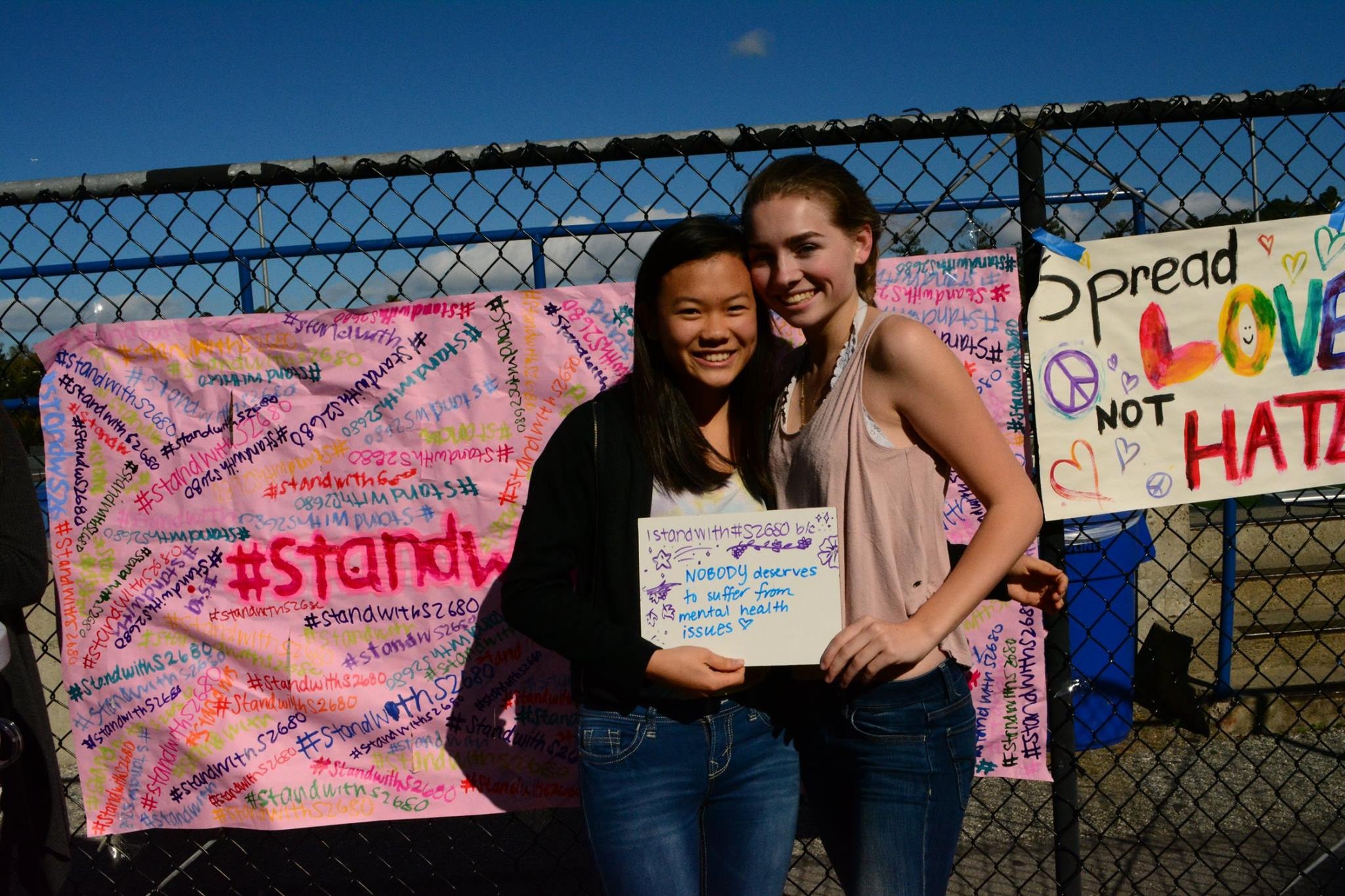 Sophomores Audrey Crook and Chloe Wen advocate for s2680, the  Mental Health Reform Act of 2016. Girl Up, along with Feminsim Club and Mental Health Awareness Club, organized this event to gain signatures for the act and support the cause.