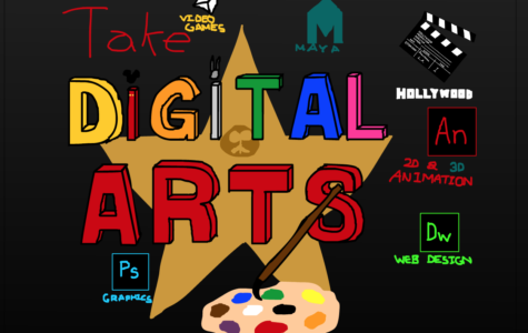 President Jonathan Yip's artwork as a product of Animation Club advertises the Digital Arts class.