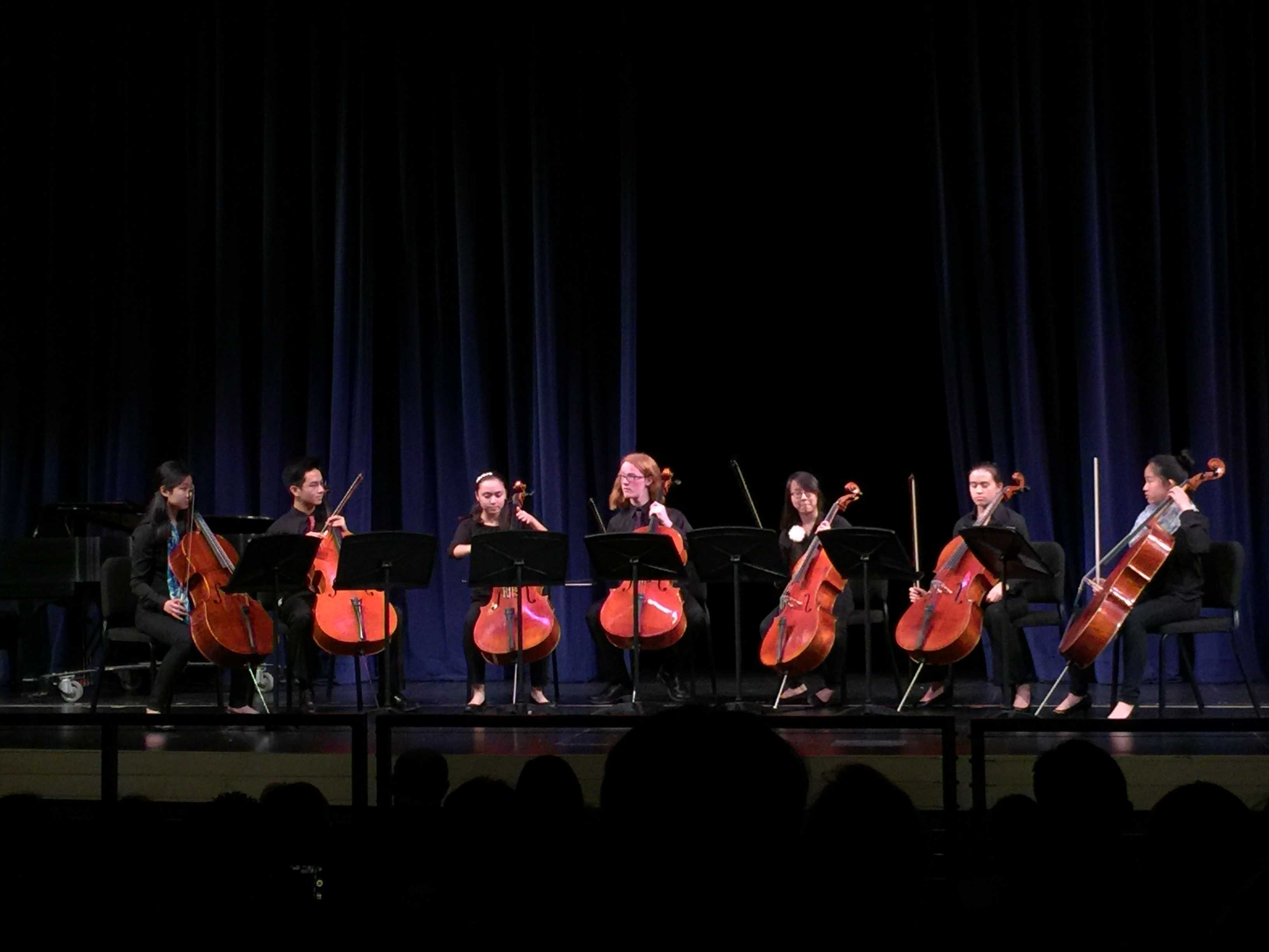 "One noteworthy piece played was ""The Cello Song,"" written by Steven Sharp Nelson. It was played as a septet by the Symphony Orchestra cellists. Senior Jillian Yong, third from the right in the photo, said, ""I think performing as a part of a group makes a big difference."