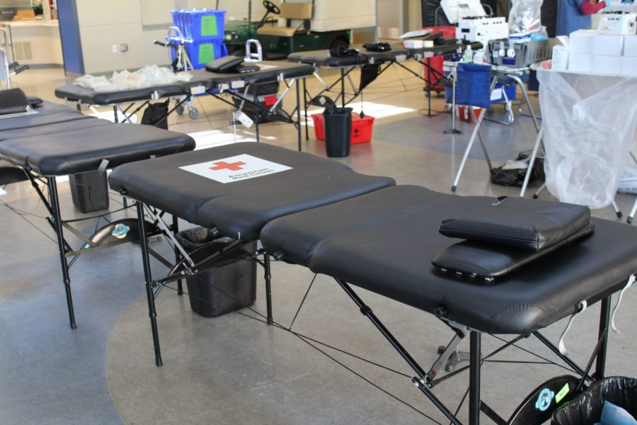 Donors sit on these medical tables when donating blood, and can choose between lying down or being propped up.