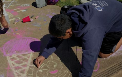 Students express themselves with chalk