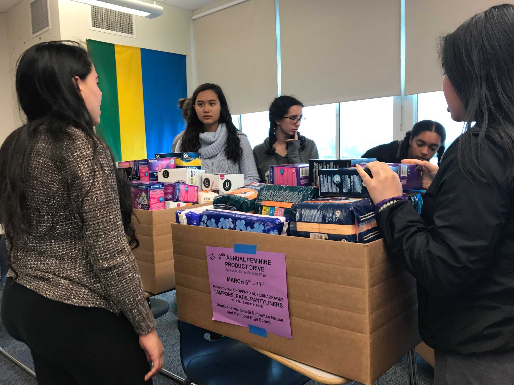 Feminist Club presidents, Sydney Pon and Evelyn Lawrence, meet at lunch on Friday March 24 at lunch to work on the Feminine Product Drive, along with a few other members.