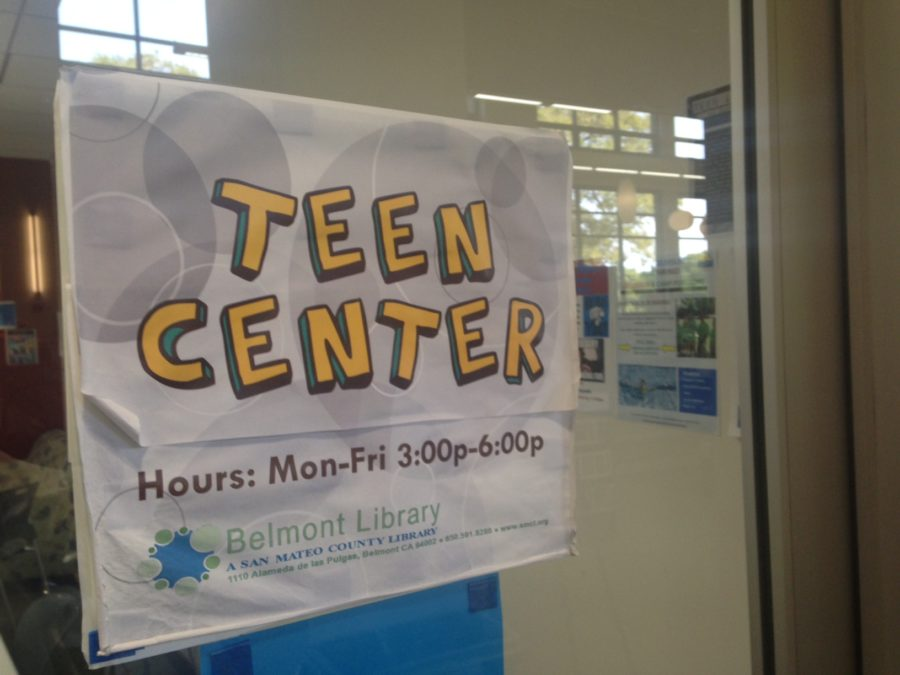 The Teen Center, located on the side of the library, provides a comfortable space for teens to work and hang out.