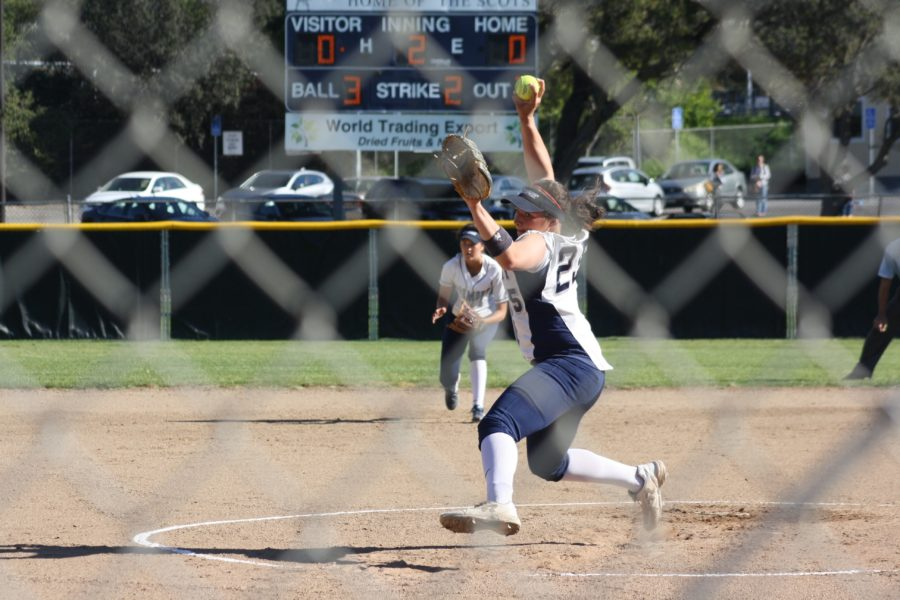 Mailey+McLemore%2C+a+junior%2C+carries+her+team+through+a+tough+win%2C+a+two-hit+game%2C+in+her+pitching+performance+on+March+14+against+the+Homestead+Mustangs.+