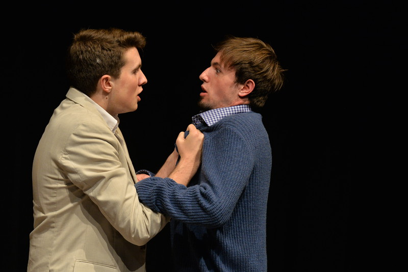 Miles Ramsdell-Ray, a junior, and Raffi DeSoto, a senior, enact the absurdist one act Zoo Story by Edward Albee, directed by Tessa Bagby.