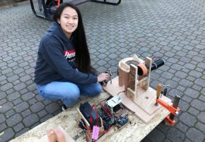 Sophomore Valerie Wang works on a prototype for the competing robot.