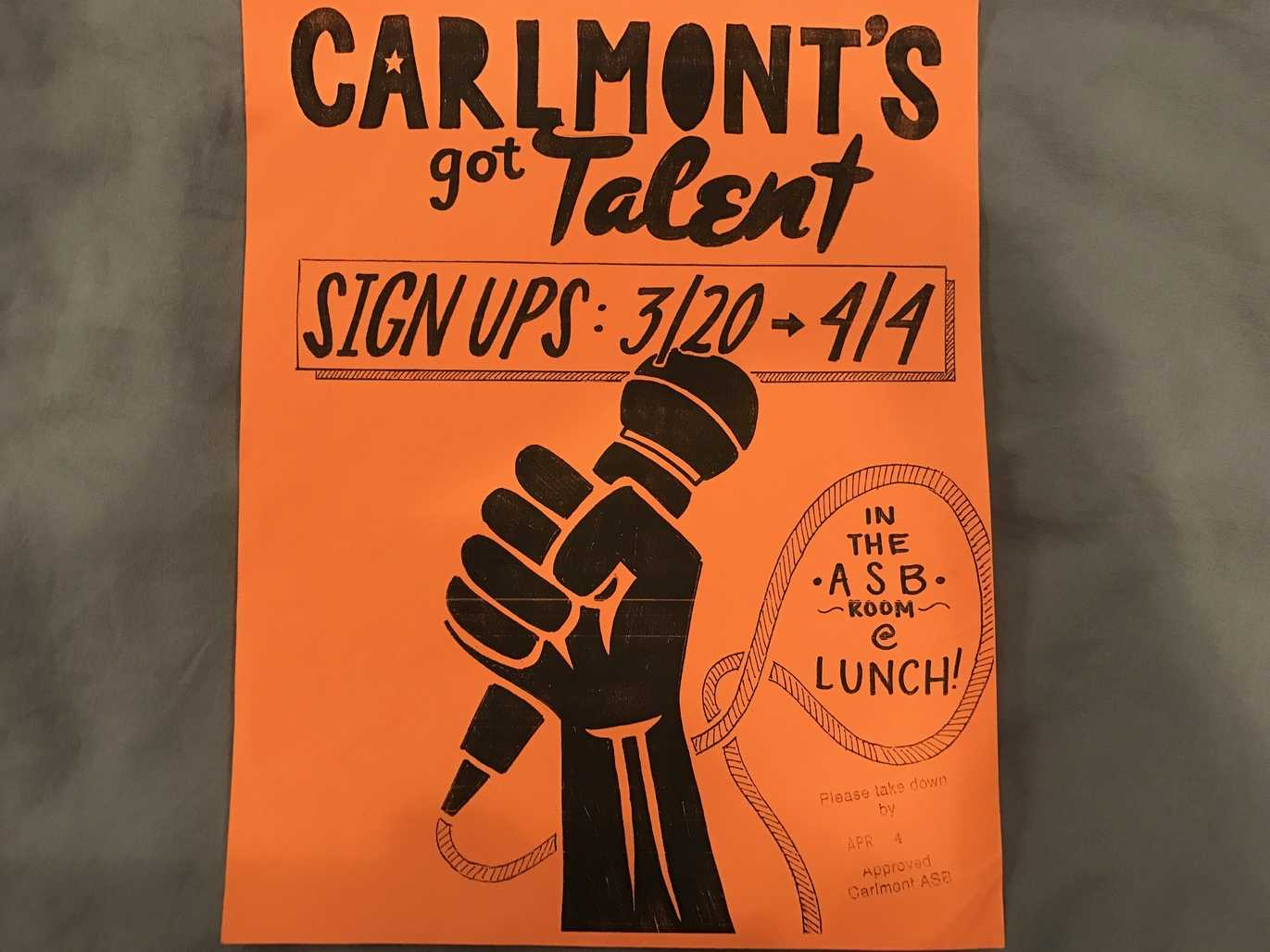 Flyers by ASB promote Carlmont's Got Talent throughout the hallways.
