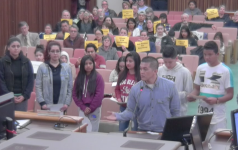 School counselor Edgardo Canda and a group of immigrant students speak before the San Mateo City Council in favor of adopting sanctuary city status.