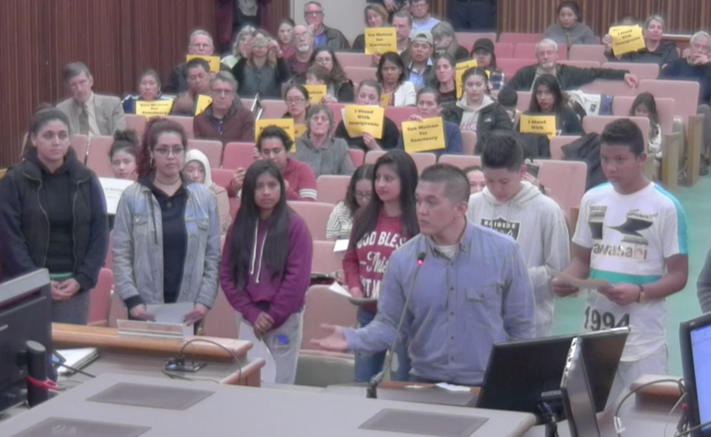School+counselor+Edgardo+Canda+and+a+group+of+immigrant+students+speak+before+the+San+Mateo+City+Council+in+favor+of+adopting+sanctuary+city+status.