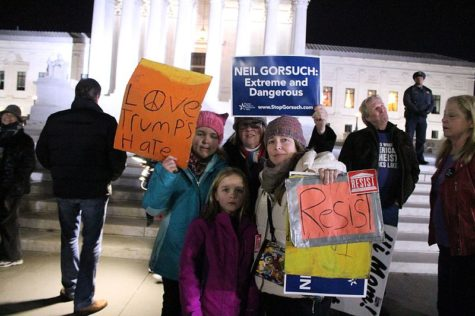 Demonstrators call for rejection of Gorsuch