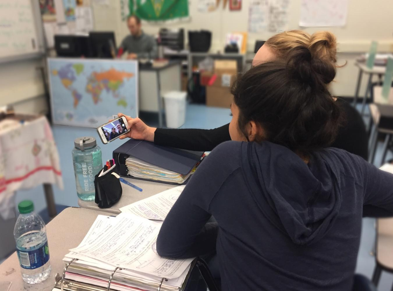 The longer class period  allows students in Spanish class to enjoy hands-on activities, such as recording videos  of conversations to review later.