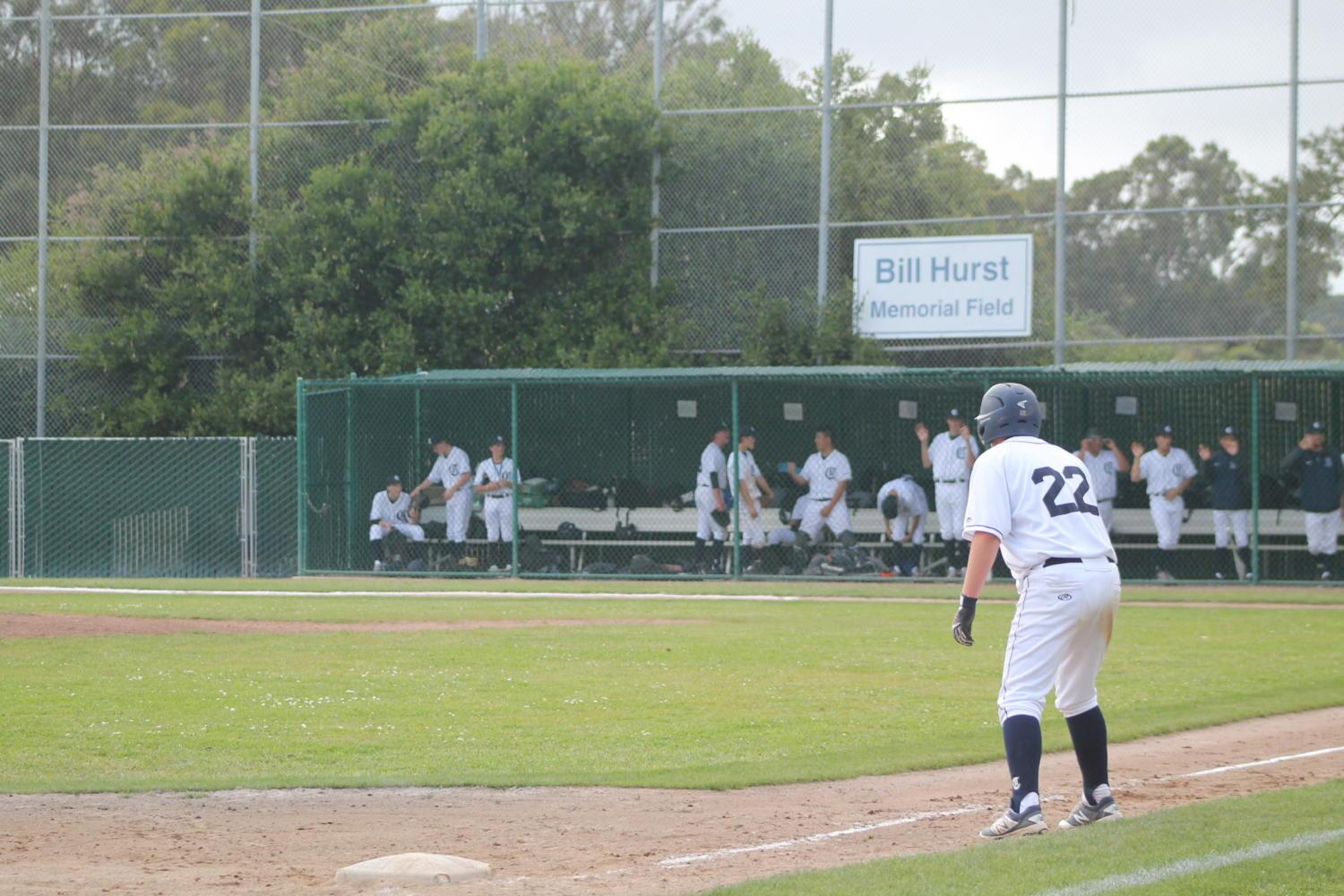 Sophomore Ryan Busser awaits the pitch so he can get a run for Carlmont.