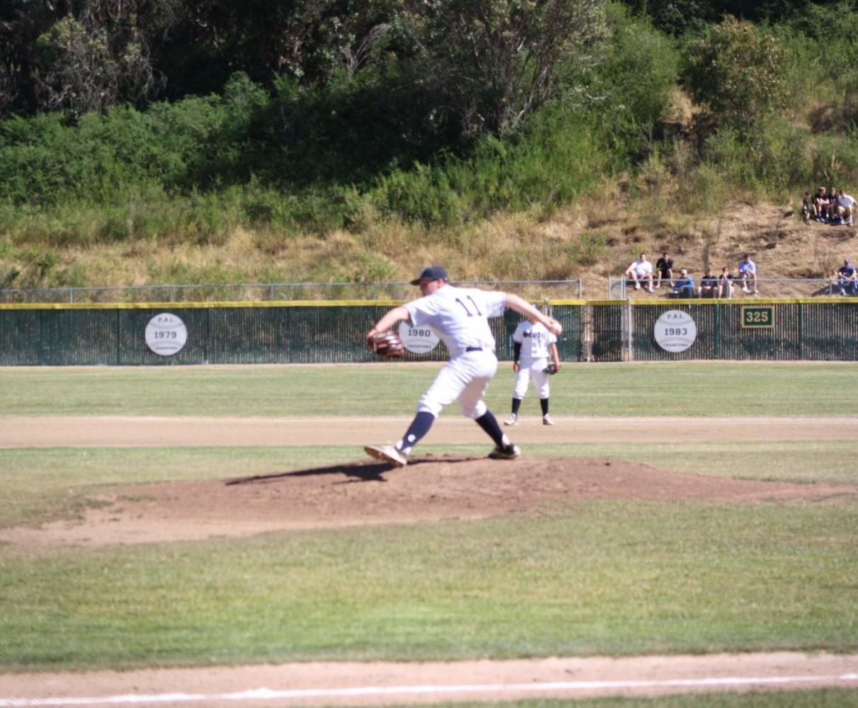 Sean+Propel+pitches+the+ball+against+the+Serra+Padres.+
