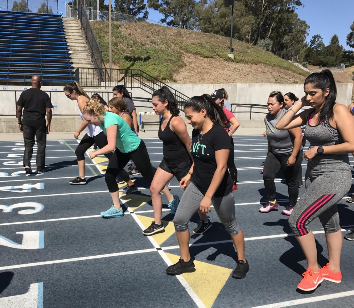 Women attending the boot camp run 1 1/2 miles on their first day, setting a time record to beat in their next four weeks of training.