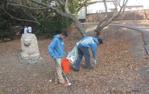 Alex Chen, a freshman, and Christian Licudine, a senior, collected discarded cigarette butts and wrappers in the Twin Pines Park section of the Coastal Cleanup.