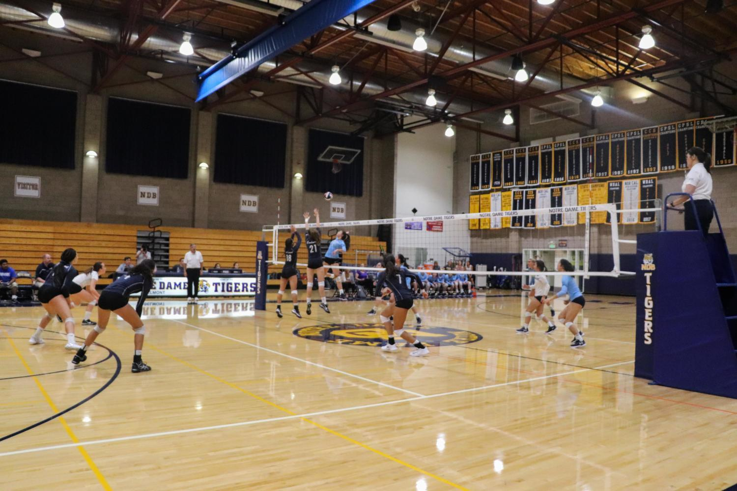 Carlmont varsity volleyball defeated Notre Dame this Thursday in the 'Battle of Belmont'