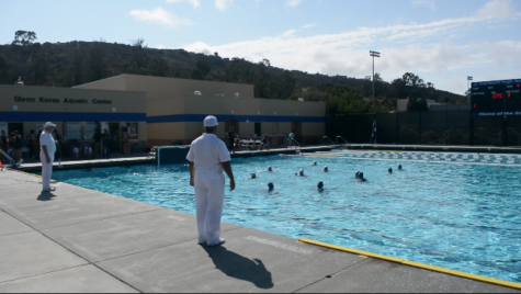 JV girls' water polo celebrates a victory against Menlo